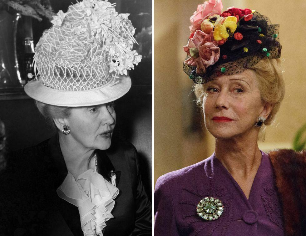 Hedda Hopper, en 1940. A la derecha, la actriz Helen Mirren caracterizada como la periodista.