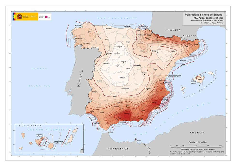 Mapa de peligrosidad de España, con las zonas donde es más probable que se repite un terremoto virando a rojo.