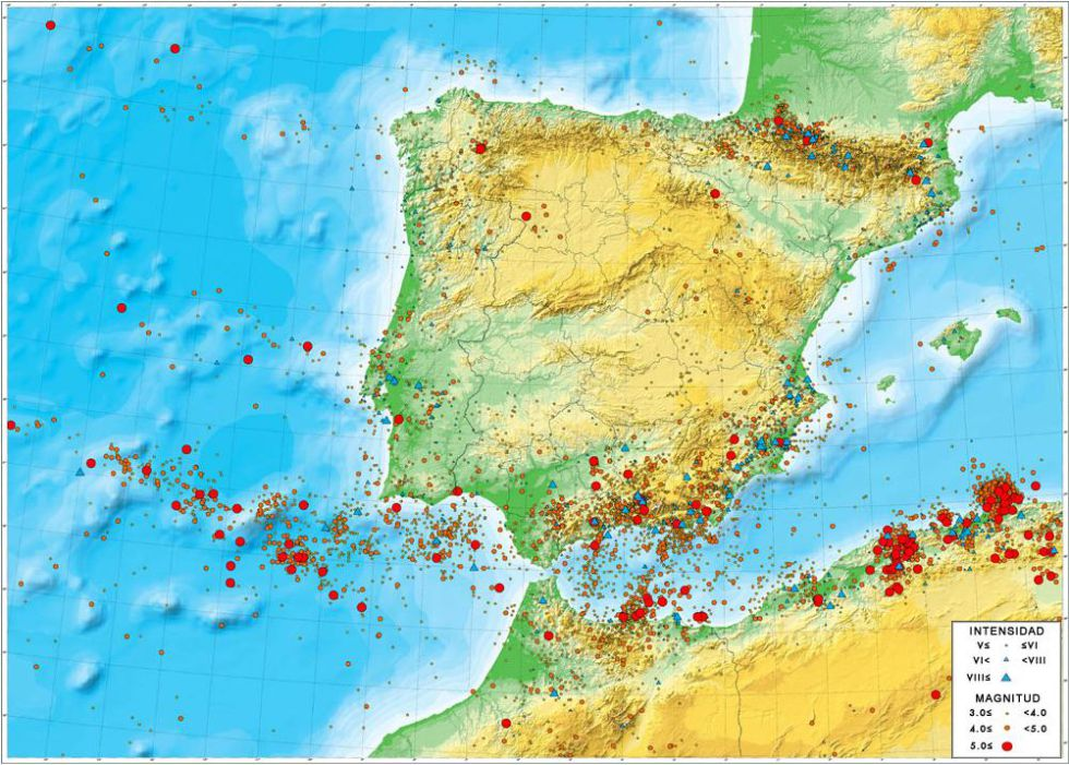 El mapa muestra la historia de los terremotos en España y su concentración en el sur, sureste y Pirineos.