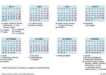 El calendario laboral de 2016 ya es oficial: ocho festivos en toda España