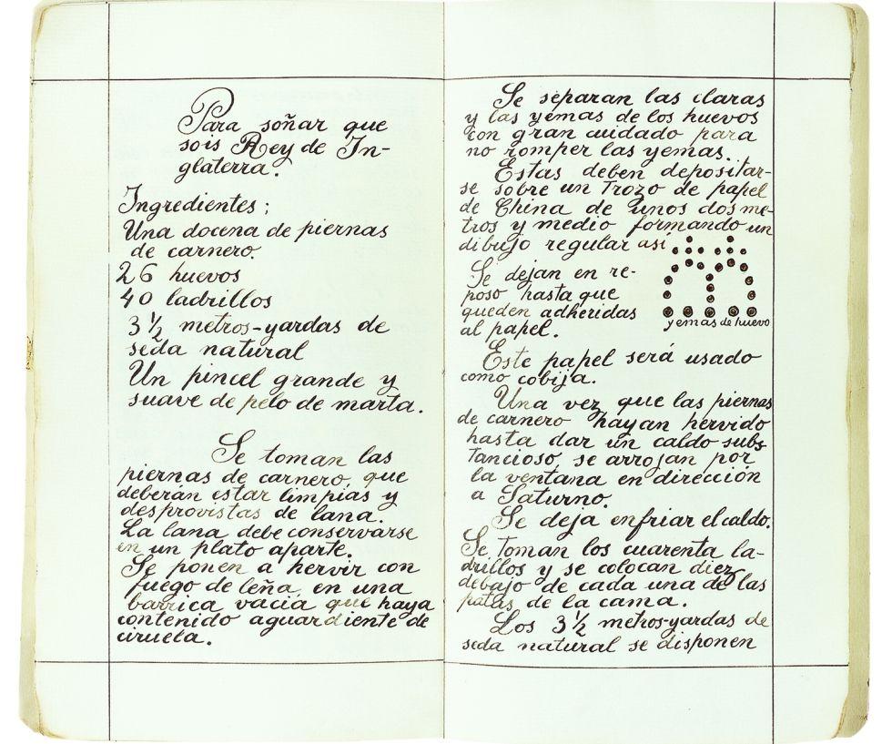 Su cuaderno de sueños y recetas.