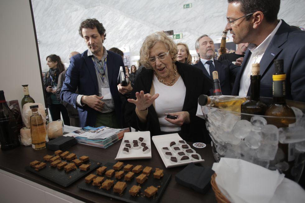 La alcaldesa de Madrid, Manuela Carmena, esta mañana en la inauguración de Madrid Fusión.