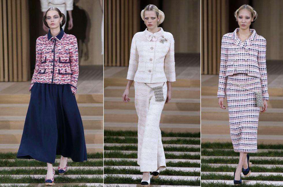 La chaqueta de Tweed clásica de Chanel no faltó en el desfile. Acompañada de falda ancha, falda de tubo o bien de un pantalón, la prenda de la 'maison' francesa es un imprescindible de todas sus colecciones.