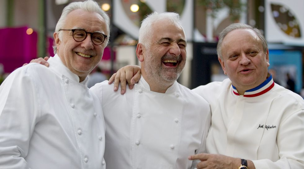 Los chefs Alain Ducasse, Guy Savoy y Joel Robuchon.