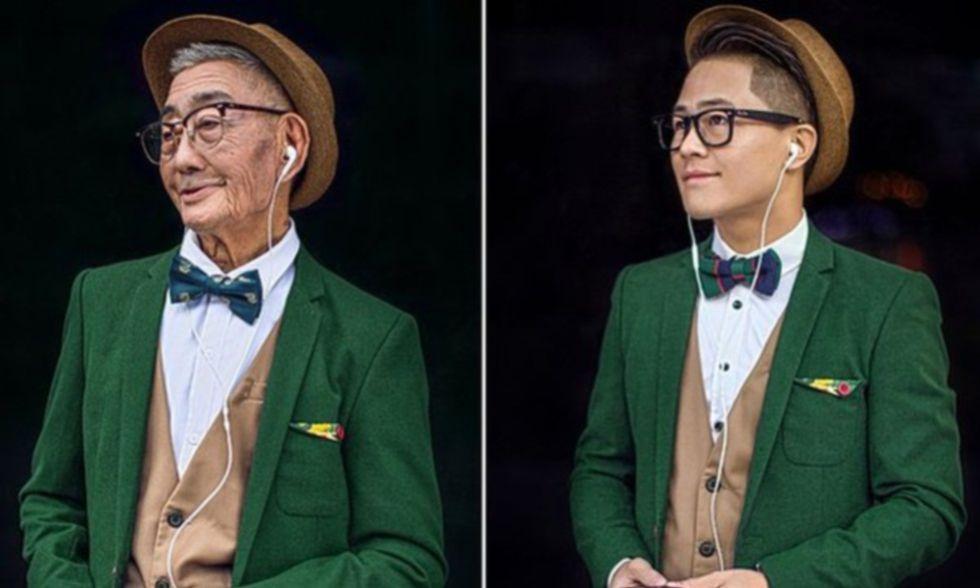 Ding Bingcai (a la izquierda) y su nieto Ding Guoliang.