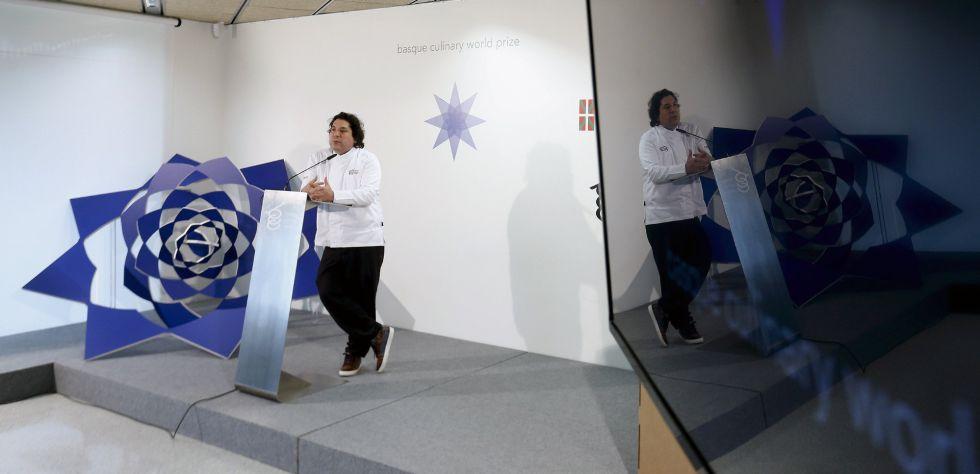 El chef peruano Gastón Acurio, durante la presentación del nuevo Basque Culinary World Prize, un premio que distinguirá a cocineros con iniciativas transformadoras.