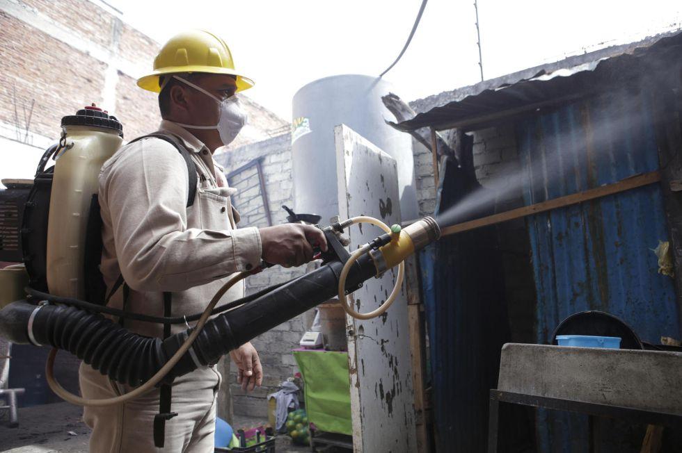 Un empleado de la Secretaría de Salud de México fumiga una vivienda el  pasado lunes.
