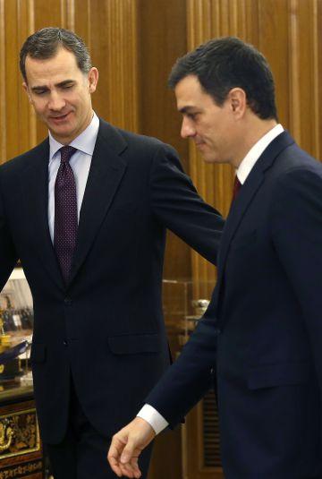 Audiencia del rey Felipe VI a Pedro Sánchez en la que el líder socialista se ofreció como candidato a la presidencia del Gobierno.