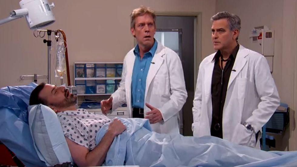 George Clooney, Hugh Laurie y Jimmy Kimmel parodian la serie 'Urgencias'.
