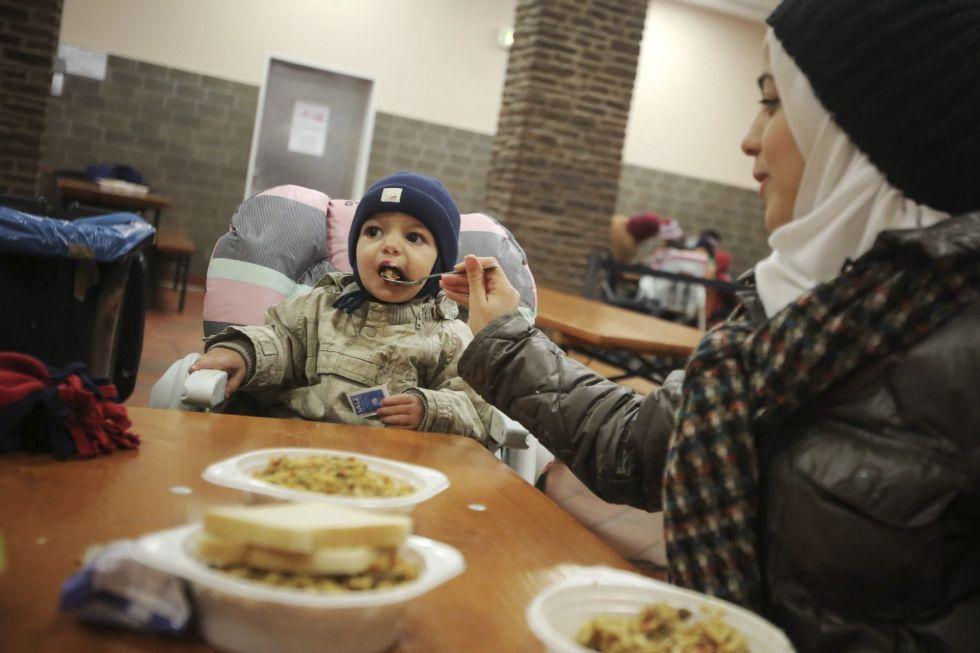 Una familia de refugiados sirios