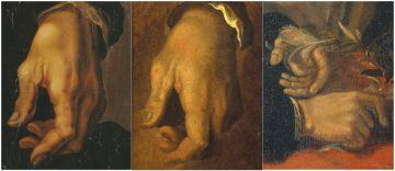 Detalle de las manos del artista en los tres retratos analizados.