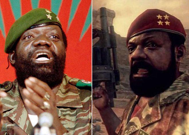 El rebelde angoleño Jonas Savimbi en la vida real y su avatar en la franquicia 'Call of duty'