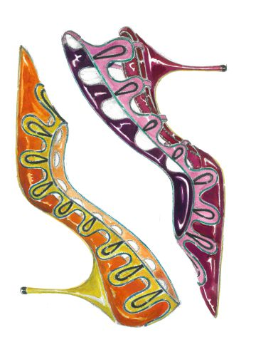 Un boceto de uno de los zapatos de Manolo Blahnik.