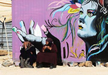 Mujeres sirias en el campo de refugiados de Zaatari, en Jordania.