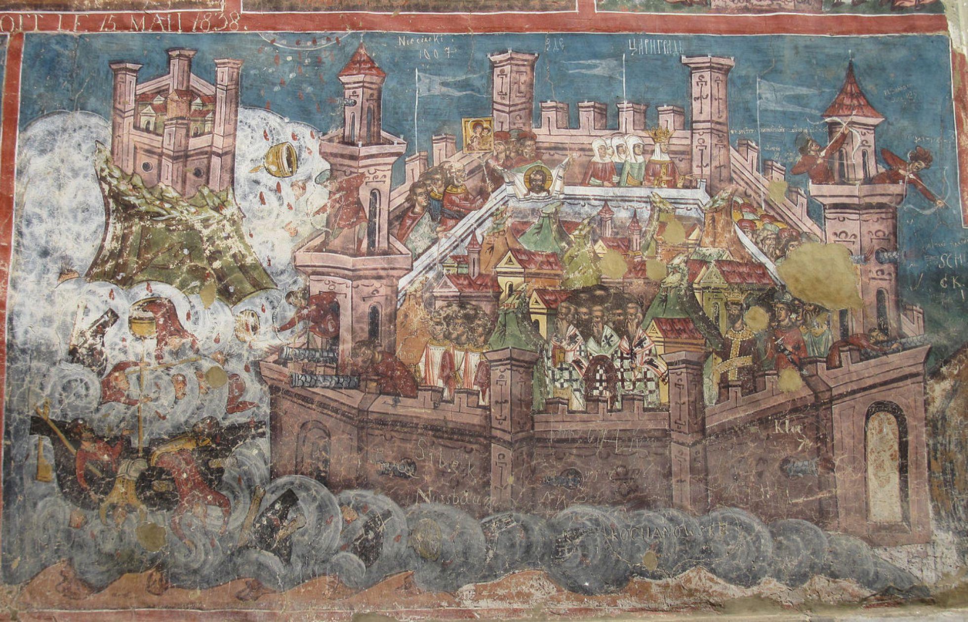 El mural recoge el asedio de Constantinopla en 626 por persas y ávaros, expulsados de las estepas por el hambre y los turcos. Su derrota supuso el fin del imperio persa.