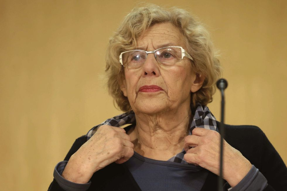 Madrid Mayor Manuela Carmena speaks to reporters on Monday.