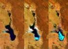 Las tres imágenes captadas por la ESA del lago Poopó.