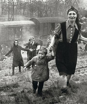 Liberación de un tren de la muerte de Bergen-Belsen a su paso por las proximidades de Magdeburgo el 13 de abril de 1945.