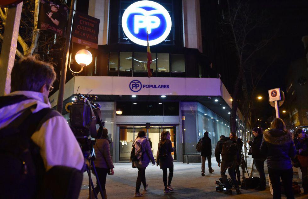 Sede central del Partido Popular en la madrileña calle de Génova, registrada por la Guardia Civil el 11 de febrero.