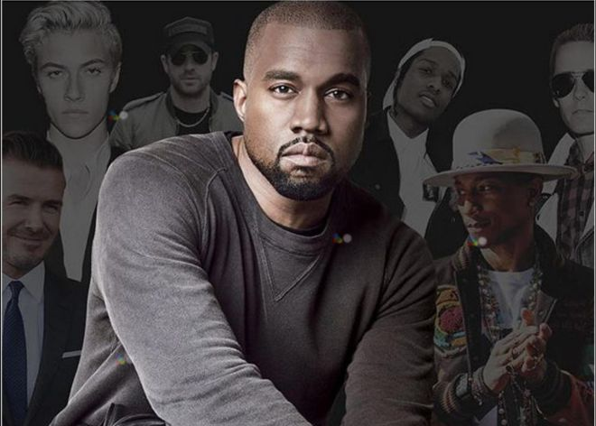 Kanye West con mirada de acero azul.