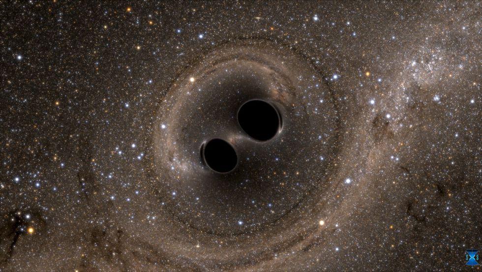 Imagen de la colisión de los dos agujeros negros, en una simulación por ordenador