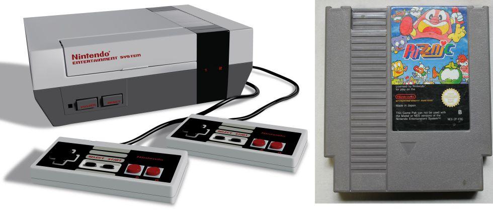 La Nintendo NES y un cartucho de juego.