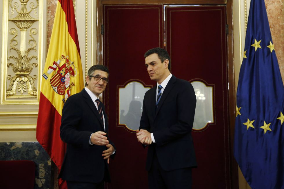 Reunión entre el presidente del Congreso, Patxi López (izquierda) y Pedro Sánchez, antes de fijar la investidura para el 2 de marzo.