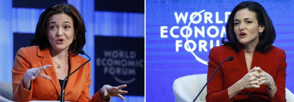 Sheryl Sandberg, en dos de sus intervenciones en el Foro Económico de Davos del pasado mes de enero.