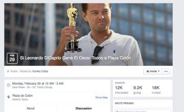 El grupo de Facebook donde se convoca a la gente a ir a la madrileña Plaza de Colón... si gana el Oscar, claro.