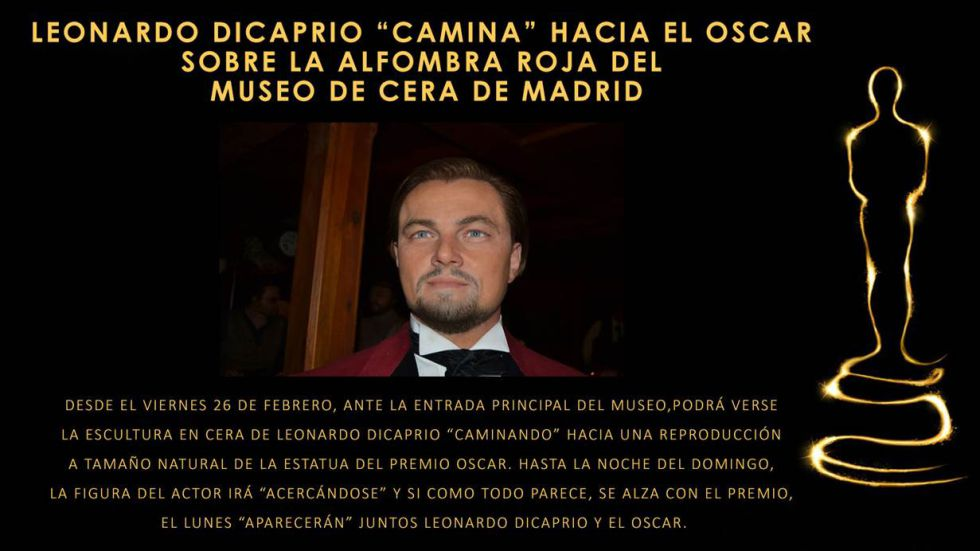 El Museo de Cera de Madrid se suma a la lucha de DiCaprio por el Oscar sacando su figura a la calle. Tremendo.