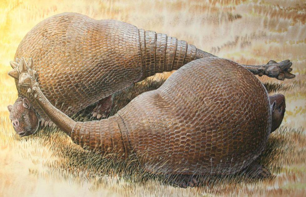 Recreación artística de dos gliptodontes, familiares de los armadillos de hasta dos toneladas. Se ha secuenciado ADN recuperado de su caparazón