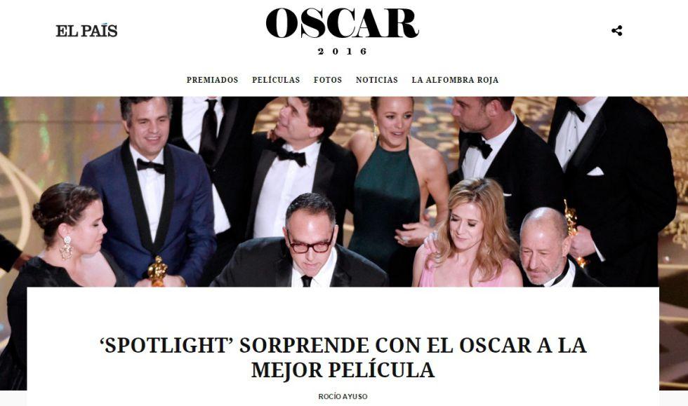 Así te hemos contado en EL PAÍS la gala de los Oscar 2016.