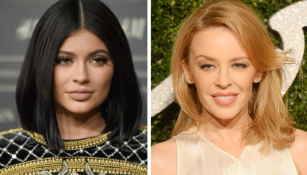 A la izquierda, Kylie Jenner; a la derecha, Kylie Minogue.