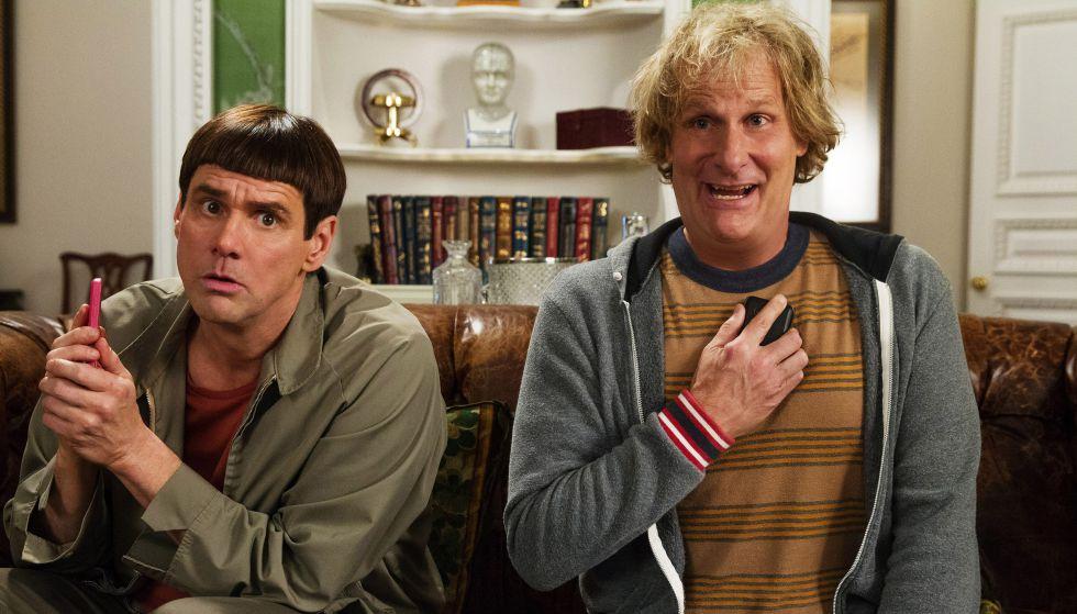 Hasta estos dos seres humanos son capaces de ligar en las nuevas 'apps'. Son Jim Carrey y Jeff Daniels en 'Dos tontos muy tontos' (1994).