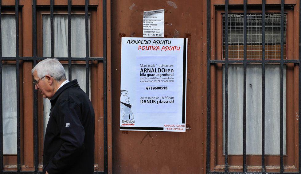 Elgoibar se prepara para la llegada de Arnaldo Otegi, el líder de Sortu que sale hoy de la prisión.