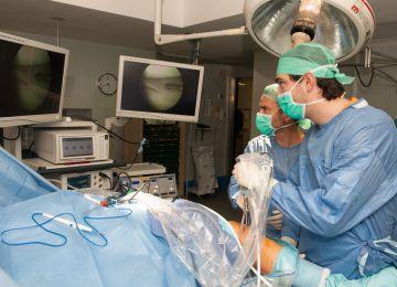 Intervención quirúrgica para reparar el ligamento cruzado con tejido porcino en el hospital de Bellvitge