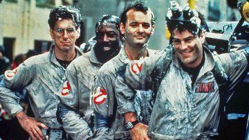 Los Cazafantasmas primigenios haciendo de las suyas. De izquierda a derecha: Harold Ramis, Ernie Hudson, Bill Murray y Dan Aykroyd.