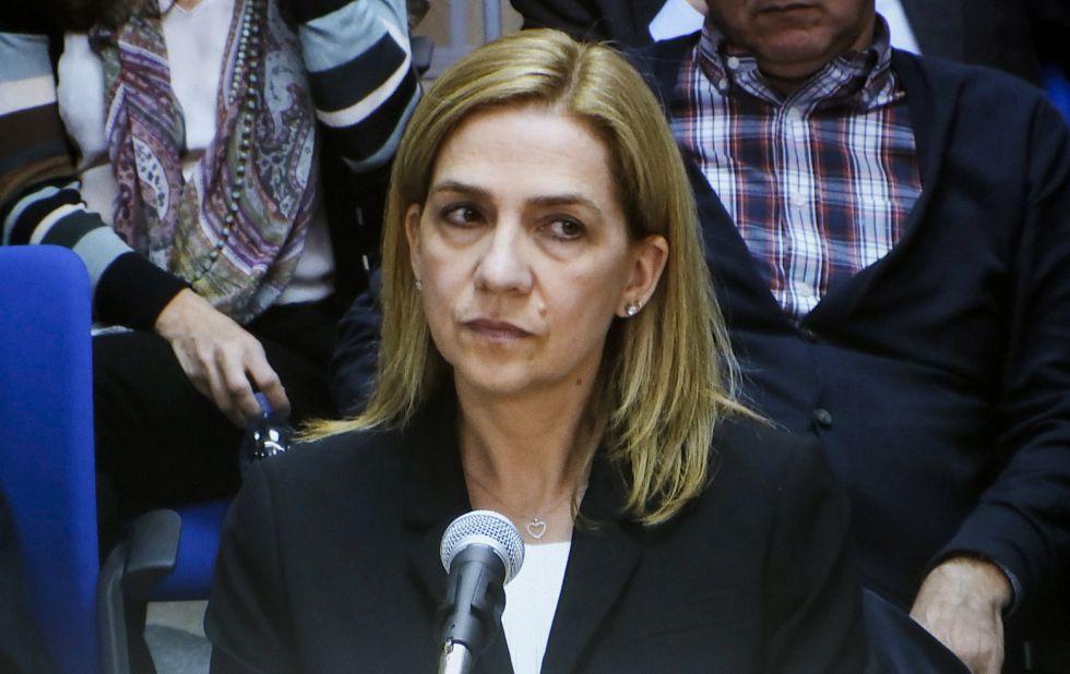 La infanta Cristina, durante su declaración.