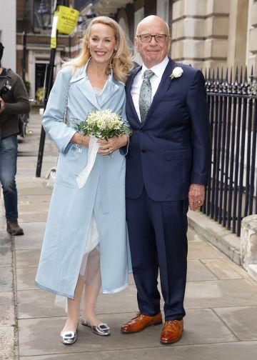 Jerry Hall and Rupert Murdoch a su llegada a la recepción celebrada tras las boda.