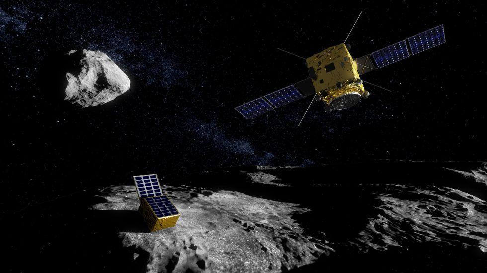 Ilustración de la misión AIM, de la Agencia Europea del Espacio (ESA), en el sistema binario de asteroides Didymos.rn rn