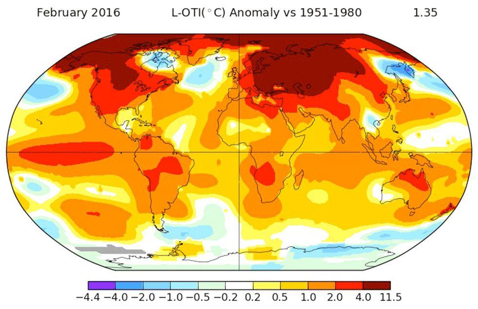 Temperatura média global bate recorde em fevereiro