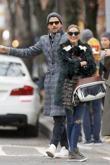 Olivia Palermo junto a su esposo, Johannes Huebl, el pasado febrero en Nueva York.