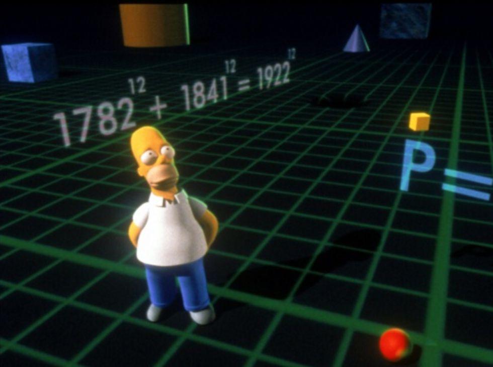 Homer, rodeado por un contraejemplo del Teorema de Fermat.