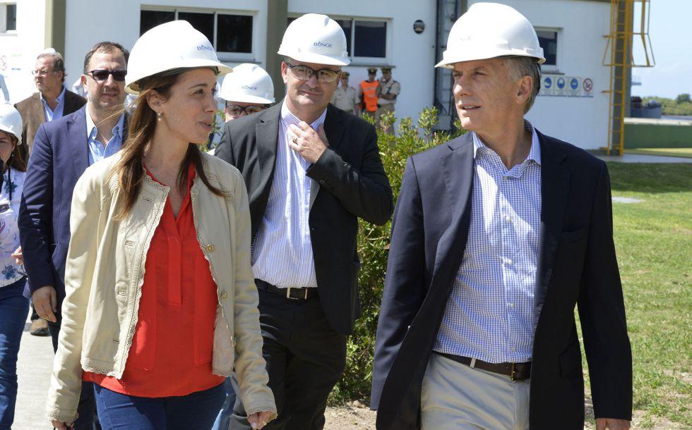 El presidente argentino, Mauricio Macri, y la gobernadora de la provincia de Buenos Aires, María Eugenia Vidal ayer.