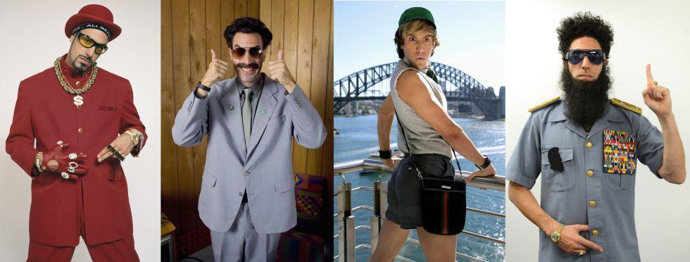 De izquierda a derecha, los personajes de Sacha Baron Cohen en Ali G (2002), Borat (2006), Brüno (2012) y El dictador (2012).