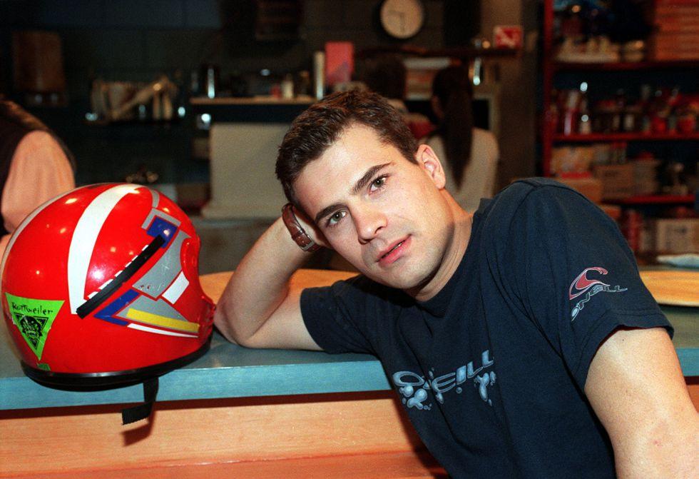 Rodolfo Sancho, en el rodaje de la serie de televisión 'Al salir de clase', a finales de los años noventa.