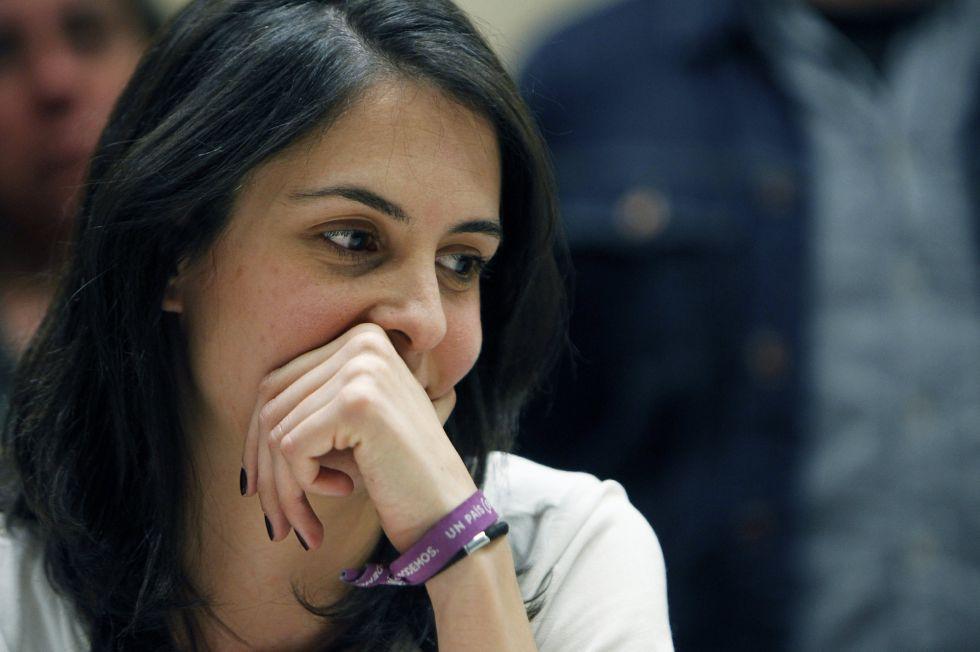 Rita Maestre, en la rueda de prensa que ofreció tras conocer que tiene que pagar una multa de 4.380 euros por un delito contra los sentimientos religiosos por sus protestas en la capilla de la Universidad Complutense en 2011.