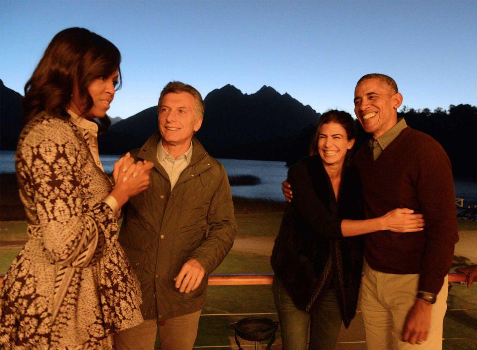 Los dos matrimonios presidenciales en San Carlos de Bariloche, Argentina.