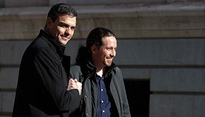 Pedro Sánchez y Pablo Iglesias, en el Congreso la semana pasada.