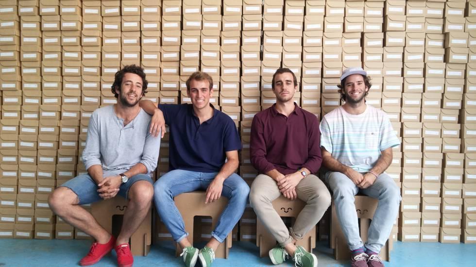 Los fundadores de Pompeii. De izquierda a derecha: Jaime Garrastazu, Jorge y Nacho Vidri y Cosme Bergareche.